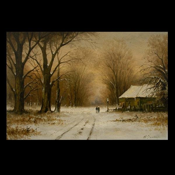 1014: SANDERS DUTCH OIL PAINTING WINTER 1900