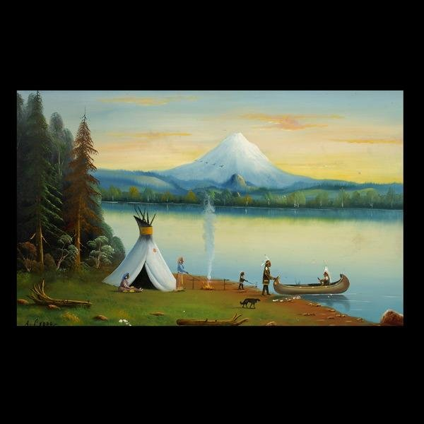 1019: CEDRO PRIMITIVE OIL ON CANVAS MT. SHASTA
