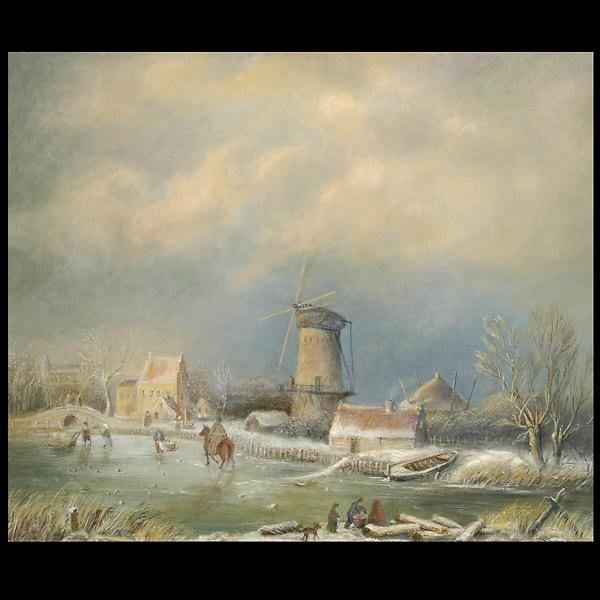 1020: Dutch landscape, framed oil on canvas