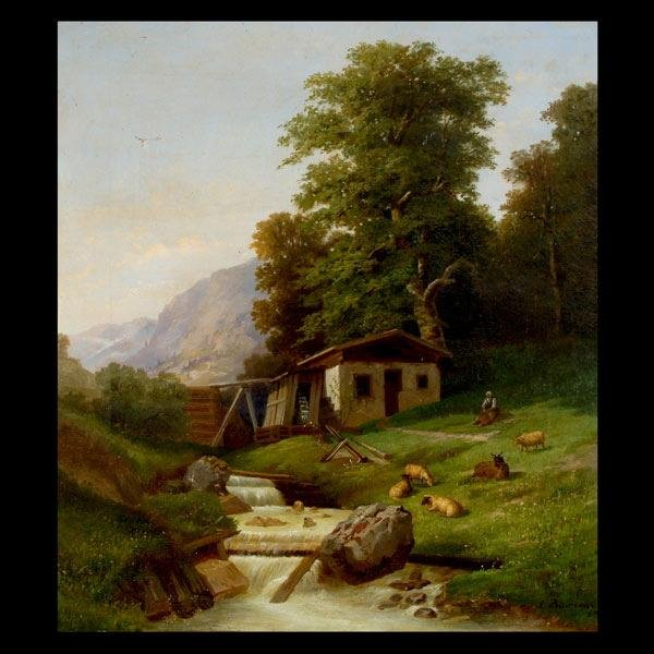 1021: LUIGI BIANCONI Oil on canvas 1869 Italian Tyrol