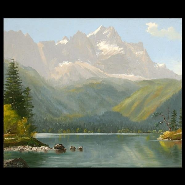 1023: 20th CENTURY LANDSCAPE.  Alpine Lake.