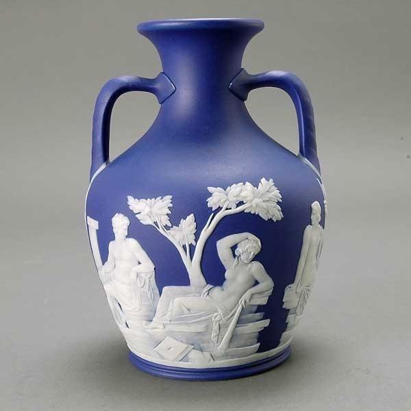 1211: Wedgwood Jasperware Two Handled Portland Vase - 4