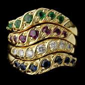 1573 COLLECTION OF FOUR MULTISTONE 14K GOLD RINGS