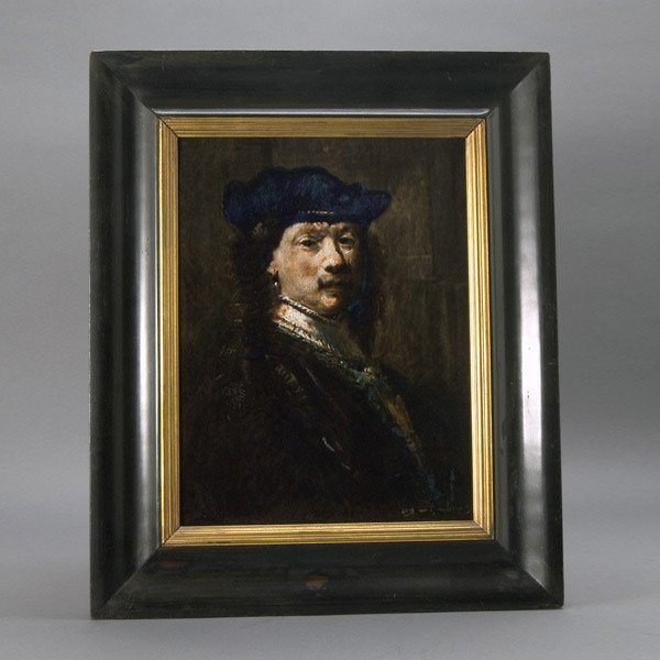 2: Dutch Porcelain Plaque of Rembrandt Self Portrait