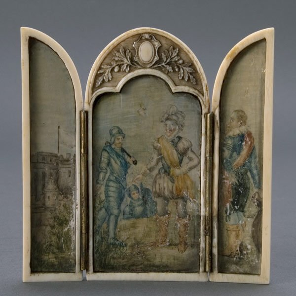 3: Continental Painted Ivory Triptych