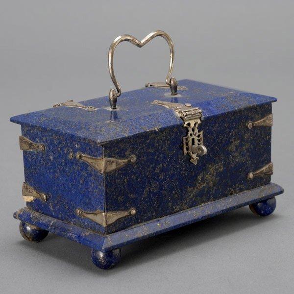 7: Baroque Style Silver Mounted Lapis Lazuli Box