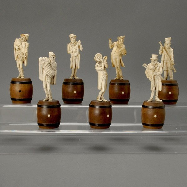 9: Seven Continental Carved Ivory Figures of Musicians