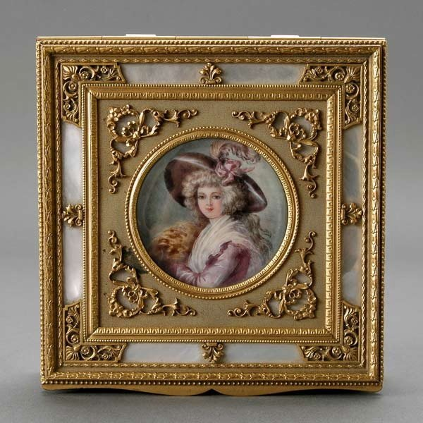 16: Louis XV Style Bronze Portrait Miniature Box