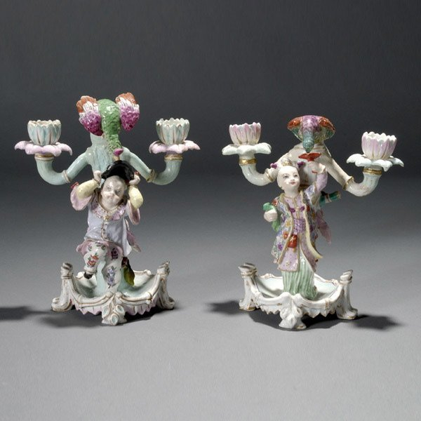 18: Pair of Continental Porcelain Two Light Candelabra