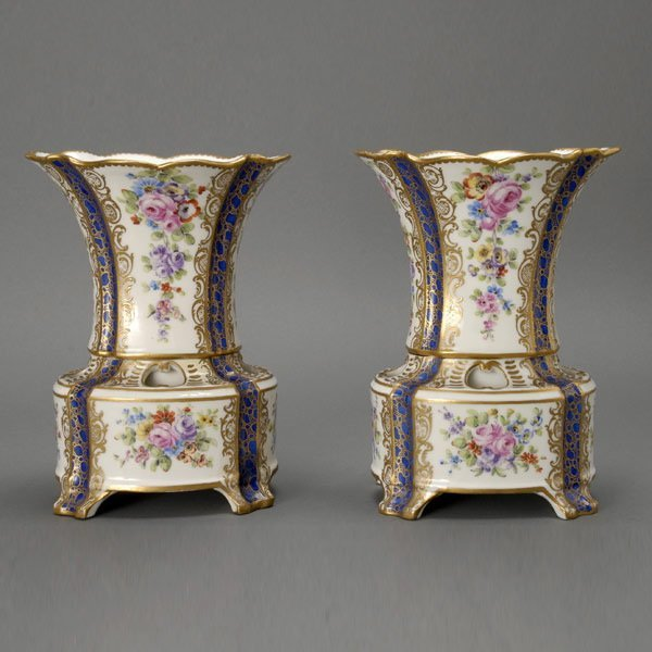 19: Pair of French Porcelain Hollandois Vases