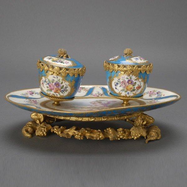 21: Sevres Style Gilt Bronze Porcelain Mounted Encrier
