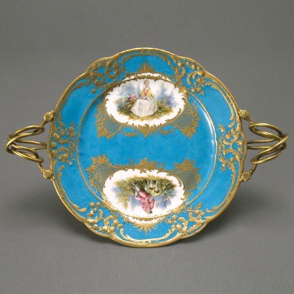 22: Sevres Style Porcelain Plate w/ Gilt Snake Handles