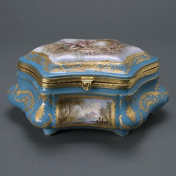 23: Sevres Gilt Bronze Porcelain Jewelry Casket