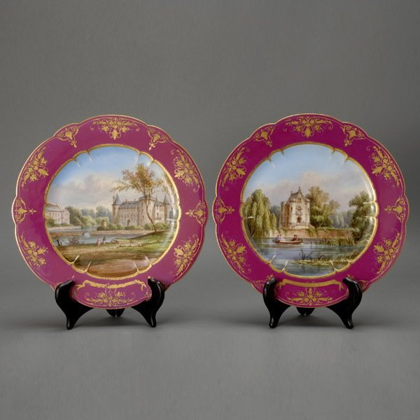 24: Pair of Sevres Style Landscape Cabinet Plates