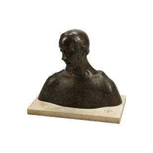 19th Century Bronze Bust on Marble Base, Signed S.