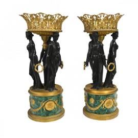 Pair of Empire Style Malachite Gilt Bronze and Bronze