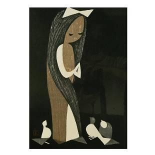 Kaoru Kawano, lot of seven woodblock prints, including