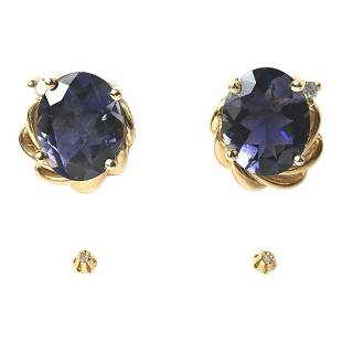 Collection of Two Pairs of Multi-Stone, 14k Yellow Gold