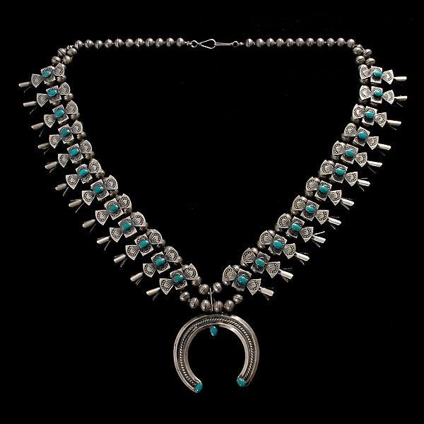10: NAVAJO TURQUOISE, SILVER SQUASH BLOSSOM NECKLACE.