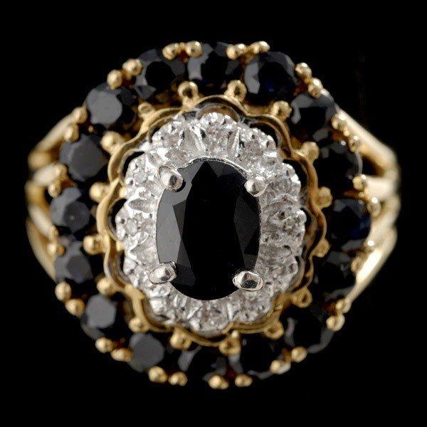 19: SAPPHIRE, DIAMOND, 14K YELLOW GOLD RING.