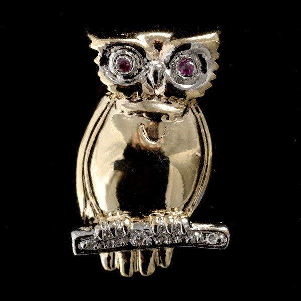24: RUBY, DIAMOND, 14K YELLOW GOLD OWL BROOCH.