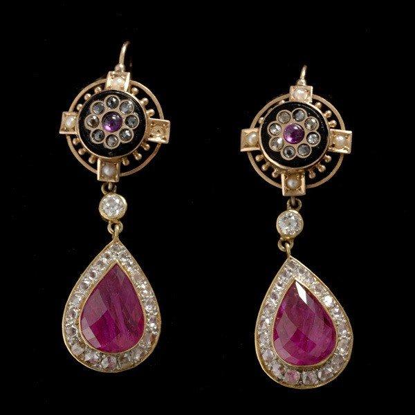 80: PAIR OF RUBY, DIAMOND, ONYX, PEARL, 18K EARRINGS