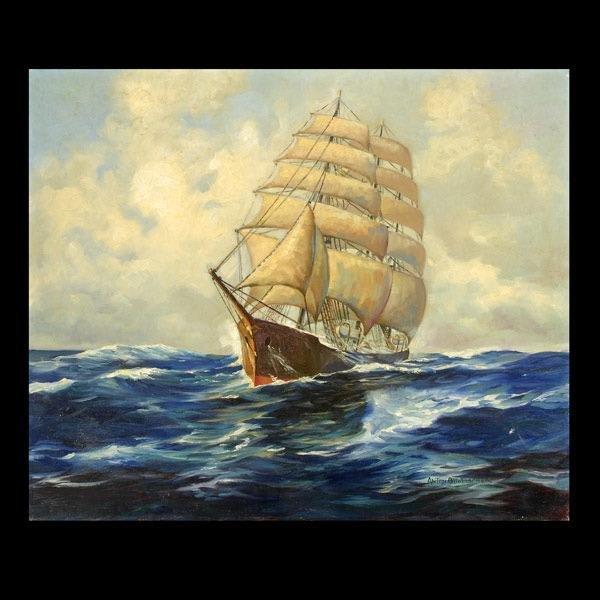 316: ANTON OTTO FISCHER. Clipper Ship at Sea.  Oil