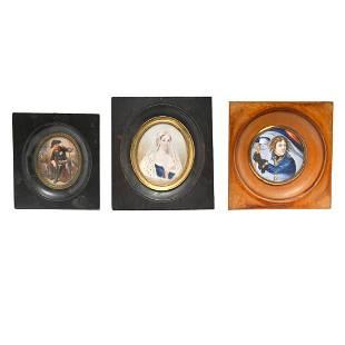 Three Portrait Miniatures Napoleon, Josephine & Nelson.