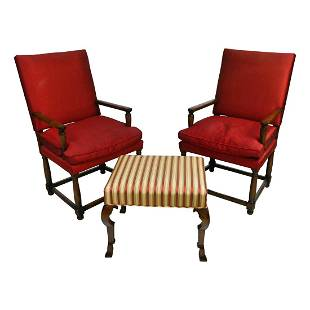 Pair of Tudor Style Armchairs and a Foot Stool.