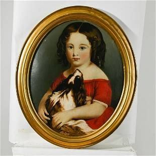 American School, Portrait of Girl with Dog, oil on
