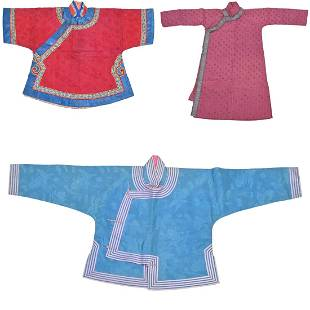 Three Chinese Child's Embroidered Robes