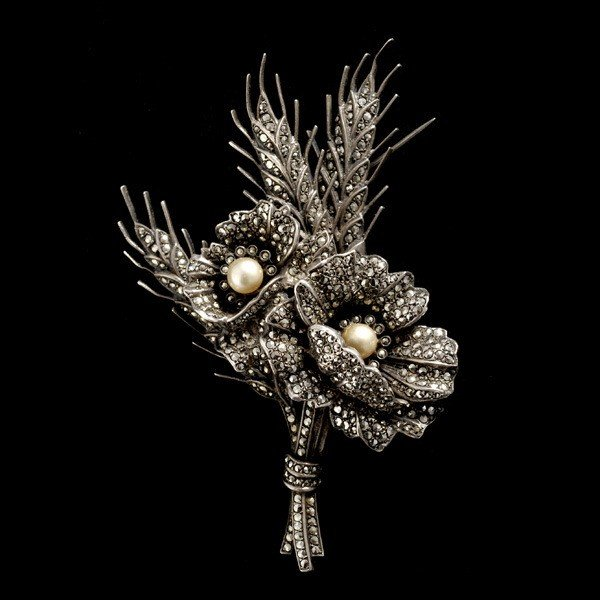 18: WEST GERMANY MARCASITE IMITATION PEARL STERLING FLO