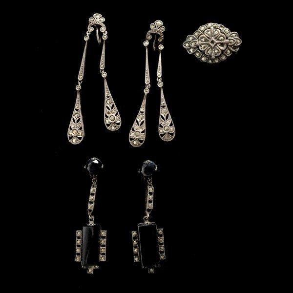 19: BLACK ONYX MARCASITE STERLING ITEMS