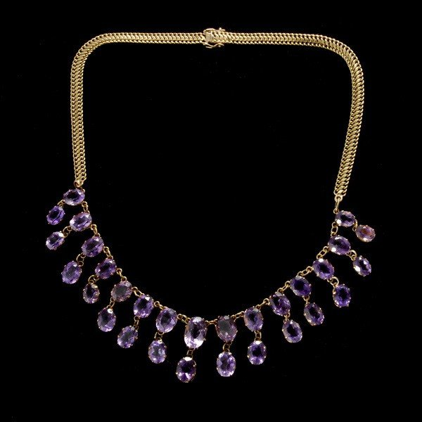 161: AMETHYST 14K YELLOW GOLD NECKLACE