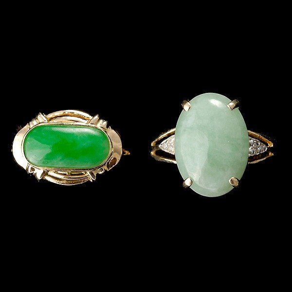 15: TWO JADE DIAMOND 14K RINGS