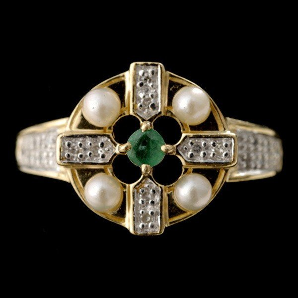 17: EMERALD DIAMOND CULTURED PEARL 14K RIGN