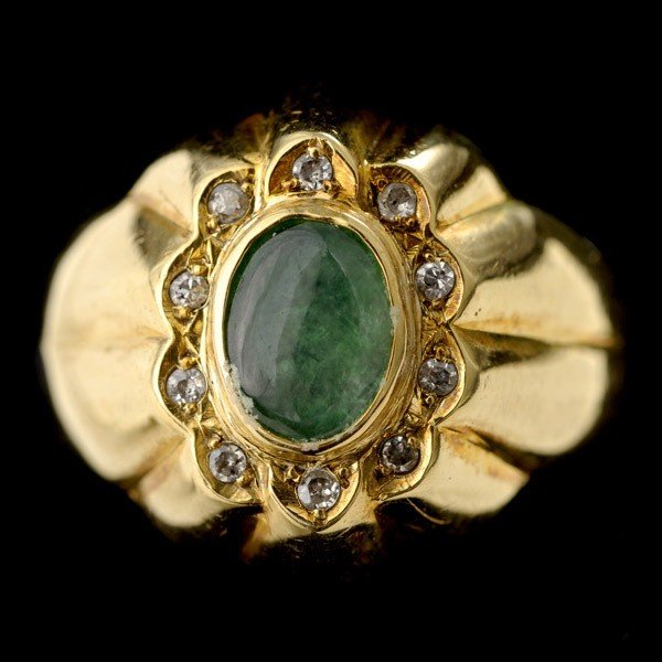 19: JADE DIAMOND 14K RING