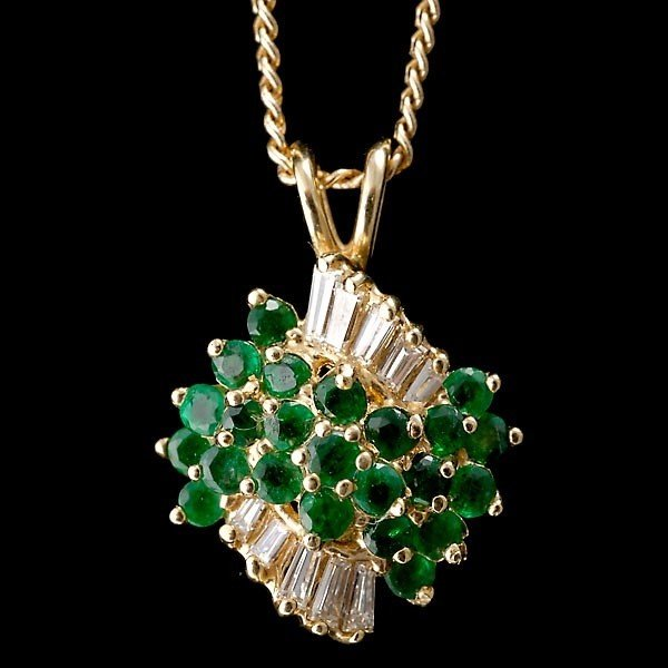 20: EMERALD DIAMOND 14K PENDANT