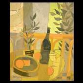 "695: MEL FOWLER. ""Table Still life"" Abstract oil"