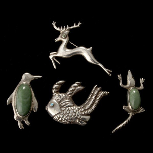 11: 4 MEXICAN STERLING SILVER, MULTI-STONE ANIMAL PINS