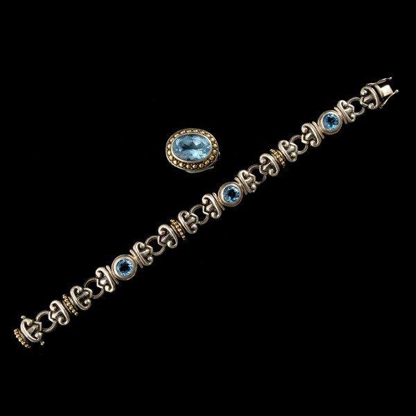 12: BLUE TOPAZ 18K JEWELRY SUITE