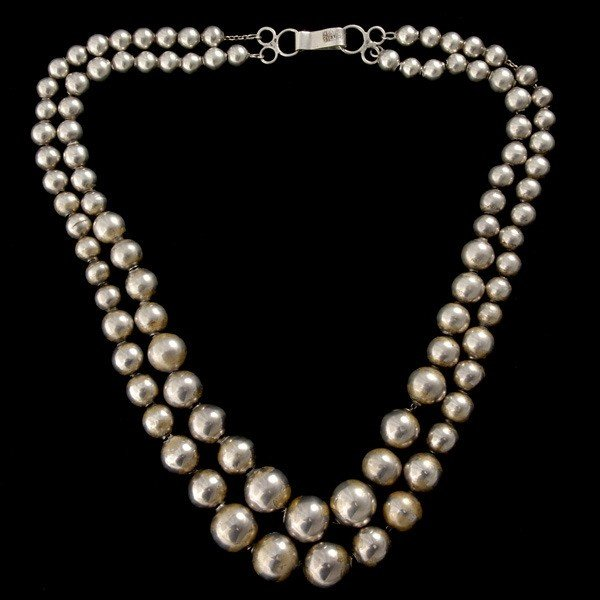14: MEXICAN SILVER BEAD NECKLACE