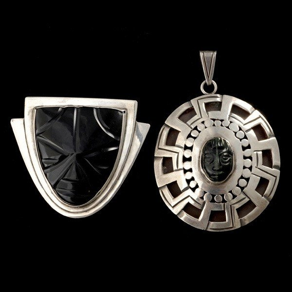 17: MEXICAN, BLACK ONYX, JADE, STERLING SILVER BROOCHES