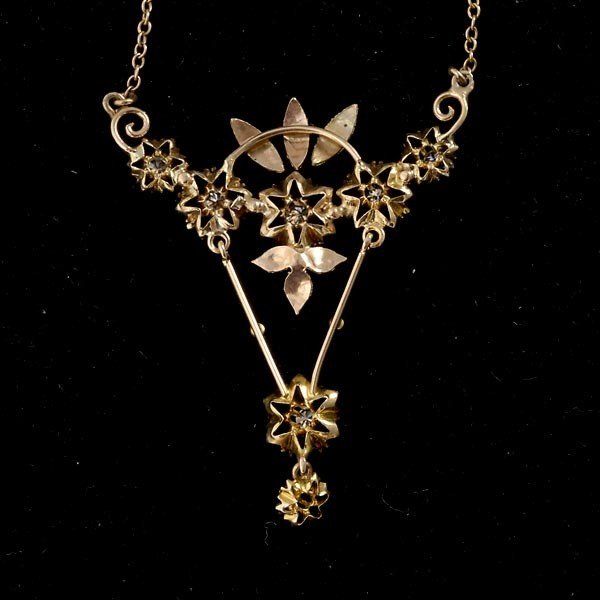 117: DIAMOND, 14K YELLOW, ROSE-GOLD LAVALIER NECKLACE - 4