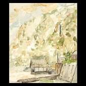695 C BERTRAM HARTMAN Waterfront City Watercolor