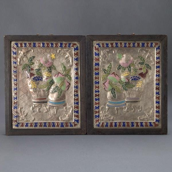 1000: Pr Arts & Crafts Period Enamel on Pewter Plaques