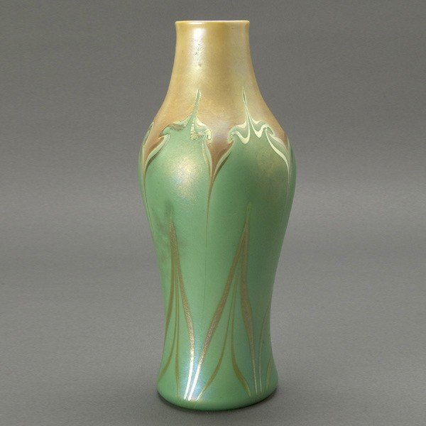 1007: Trevaise Butterscotch and Green Decorated Vase
