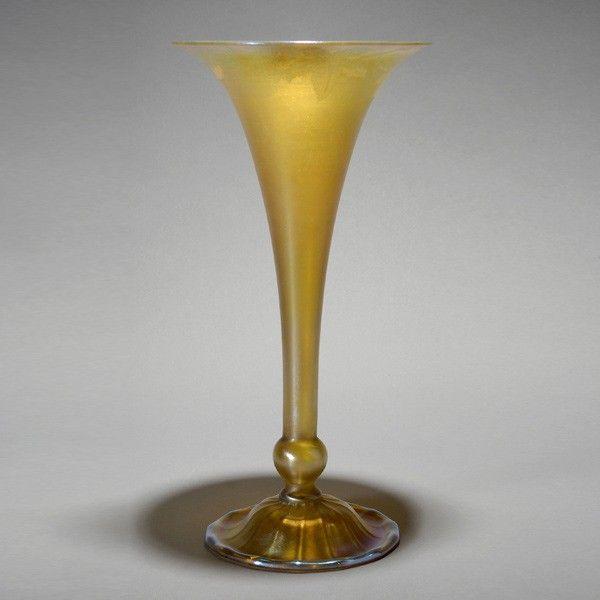 Tiffany Studios Gold Favrile Trumpet Vase
