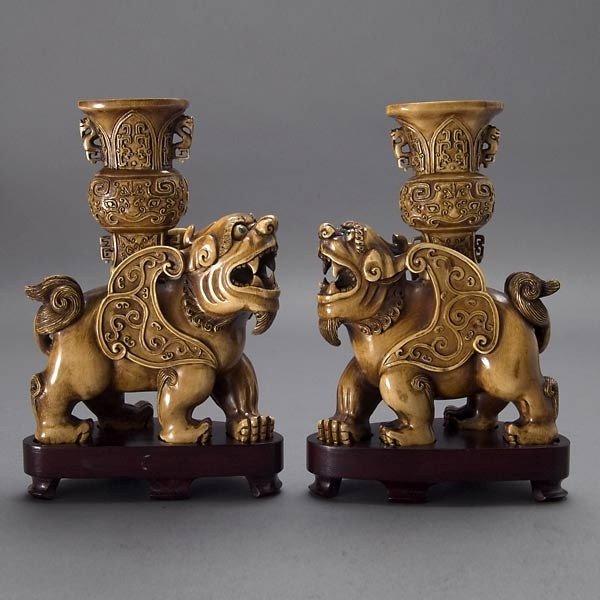 2007: Two Ivory Mythological Beasts Tined w/Sepia Washe
