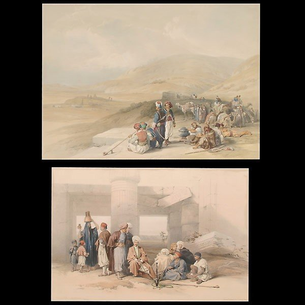 1001: David Roberts. Two hand colored engravings.